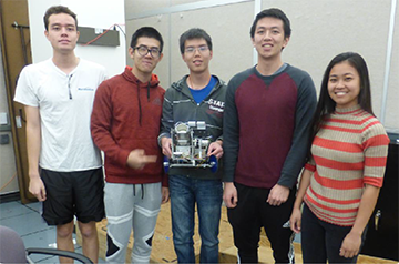 Second Prize Winners - Team 16; team members pictured from left to right Byron Sin, Jinshuo Chen, Guotai Huang, John Young, and Mia Sibul.