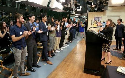 AE junior Mia Reyes, a recipient of UCLA's Big Bang Theory Scholarship, visits TBBT's cast and crew