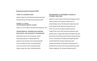 Commencement Awards 2021