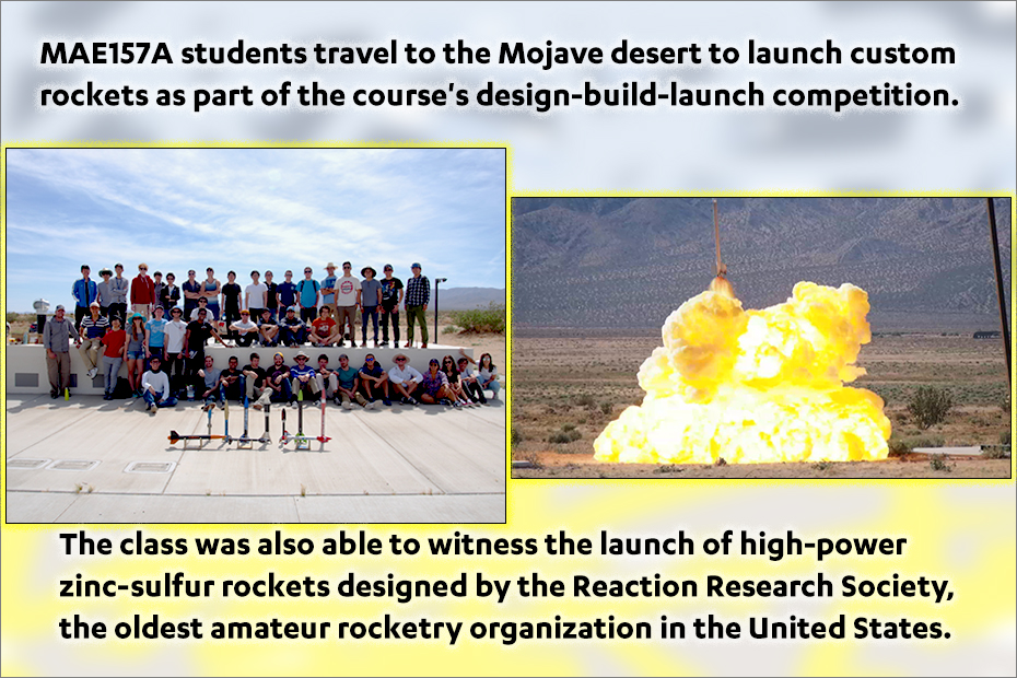 MAE157A students travel to the Mojave desert to launch custom rockets