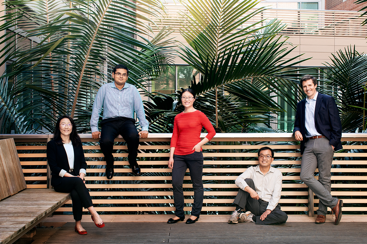 From left: UCLA's Ximin He, Khalid Jawed, Lihua Jin, Qibing Pei and Jonathan Hopkins. Photo by Coral Von Zumwalt.