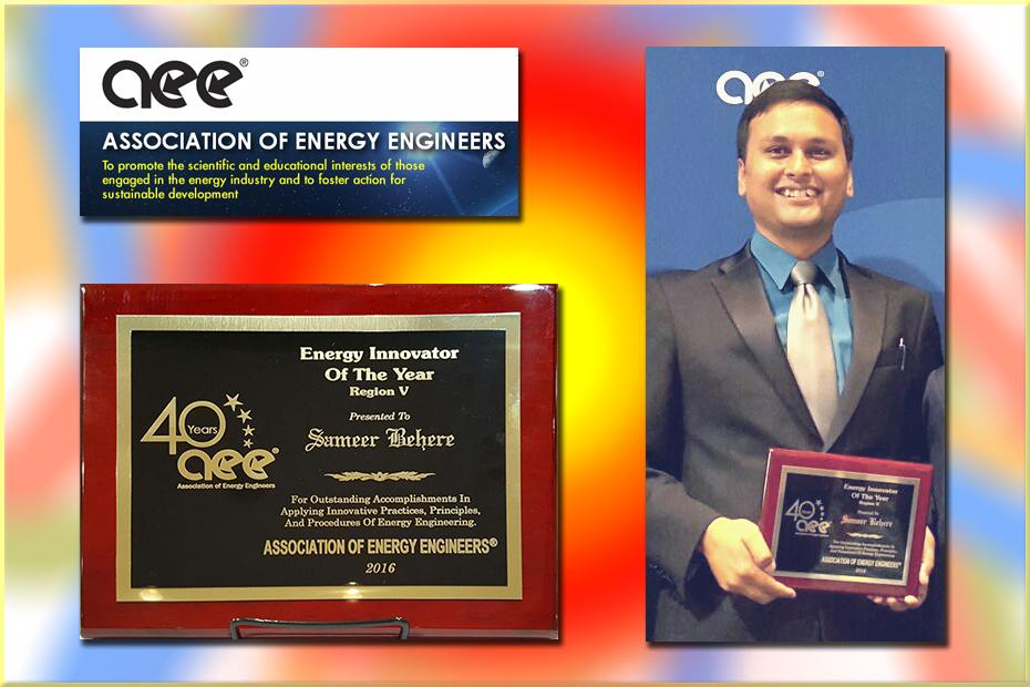 MAE alumnus Sameer Behere wins 2016 AEE Energy Innovator of the Year Award