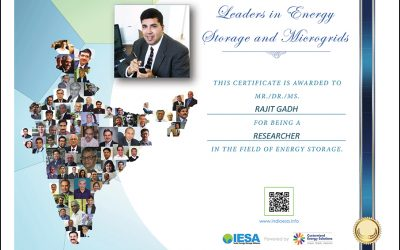 """Rajit Gadh named by IESA one of the """"50 most influential Indians in Energy Storage and Micro-grids"""""""