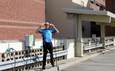 Sustainability champion Bill Walton powering up with solar energy at UCLA SMERC