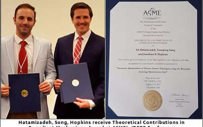 Hatamizadeh, Song, Hopkins receive Theoretical Contributions in Compliant Mechanisms Award at ASME's IDETC Conference