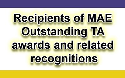 Recipients of 2019-20 MAE Outstanding TA awards and related recognitions