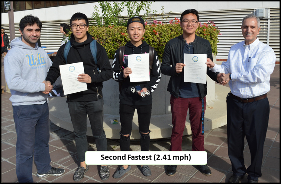 Winners of Second Fastest Car And Final Race – Team 16 Left to right: Behnam Khaki (TA), Wensong Huang, Mengyuan Chen, Patrick Kim, and Prof. R. Shaefer.