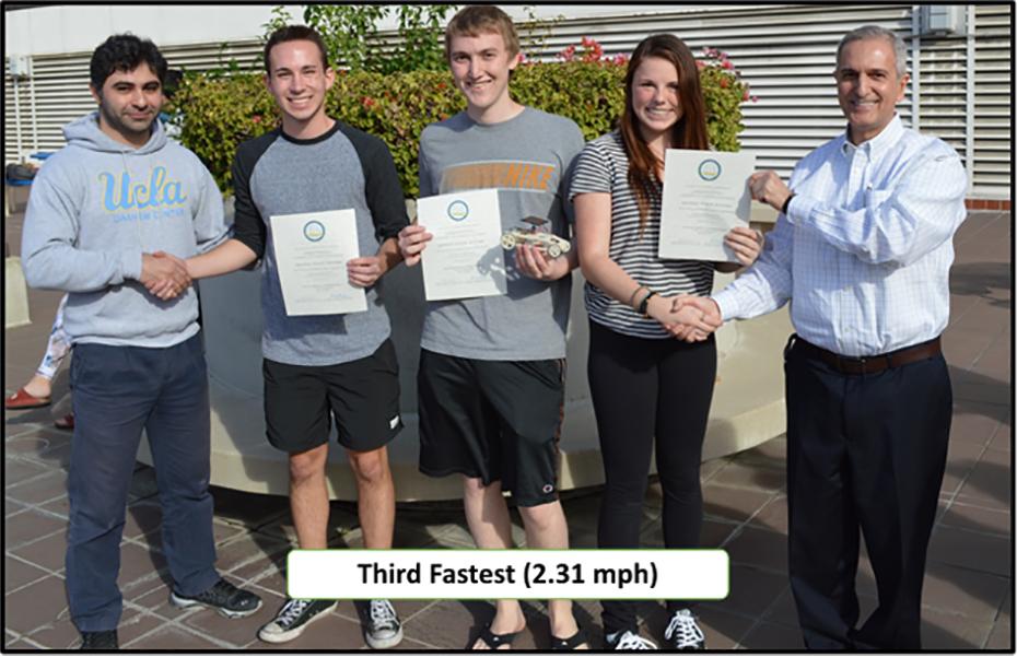 Winners of Third Fastest Car – Team-1 Left to right: Behnam Khaki (TA), Nick Shore, Scott Shelton, Laura Nelson, and Prof. R. Shaefer.