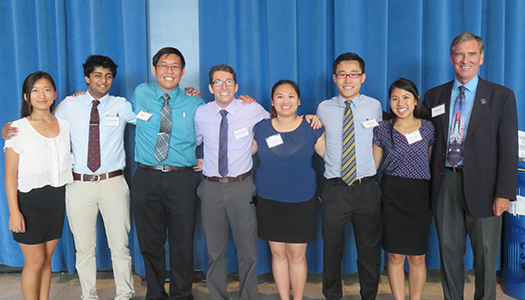 The MAE Student Council and Dr. Goodin celebrate a successful 2nd year to the MAE Career Fair. L to R: Ellen Kim, Vidur Sanandan, Anthony Vong, Jean Luc Chamaa, Anny Lin, Kai Matsuka, Alana Bianes, (William) Bill Goodin.