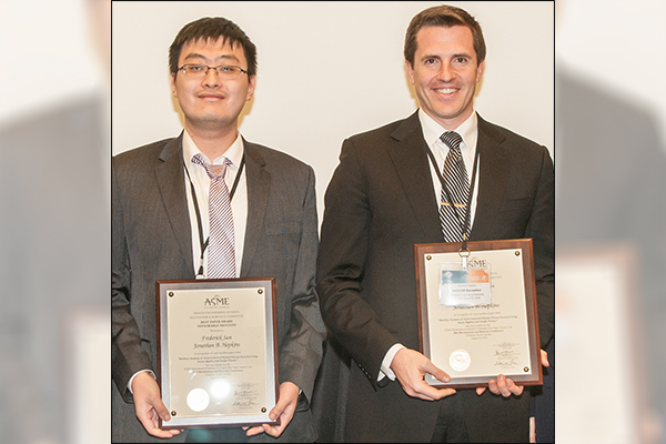 Jonathan Hopkins and Frederick Sun win the 2016 Freudenstein/GM Young Investigator Award at ASME IDETC