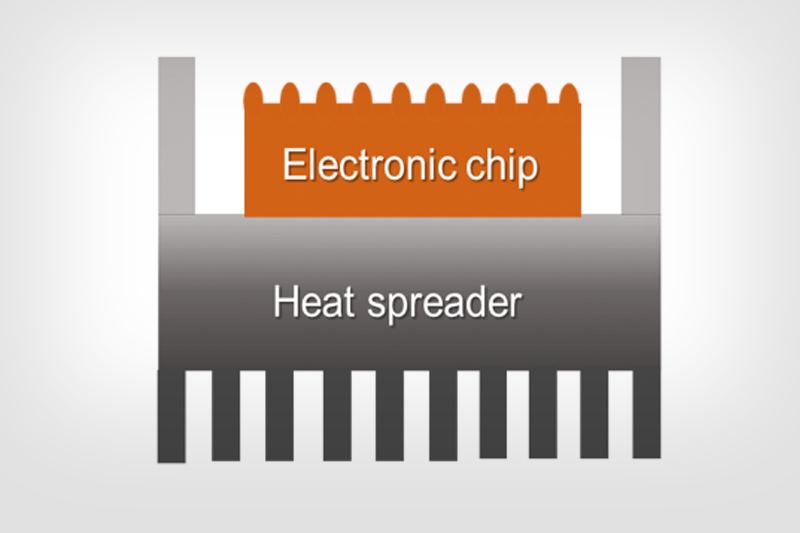 Schematic illustrating thermal management in electronics chip packaging (Credit: The H-Lab)